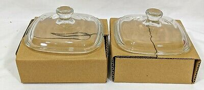 2- CORNINGWARE Corelle Pyroceram  Petite Pan Glass Covers  5 1/4""