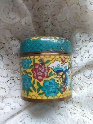 Chinese Humidor Tea Caddy Round Cloisonne Jewelry Trinket Box Colorful Butterfly
