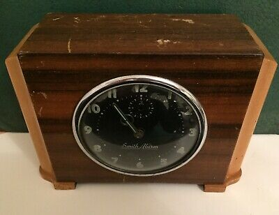 "Vintage ""Smiths Alarm"" Two-tone Wooden Clock - Art Deco - Spares or Repairs"
