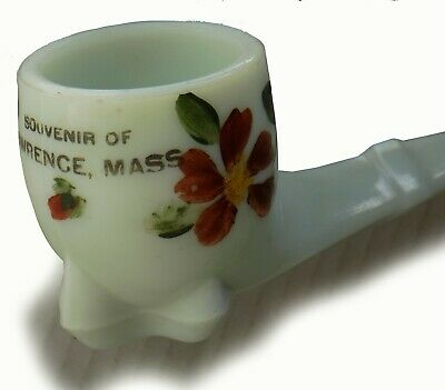 Antique LAWRENCE MASS Pastel Green Glass Pipe Hand Painted Flowers MA Souvenir