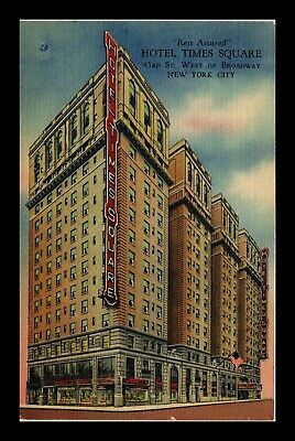 Us Linen Postcard Rest Assured At Hotel Times Square New York City