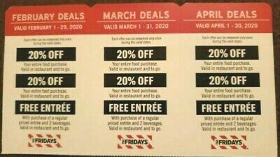 NEW TGI FRIDAYS COUPONS 20% OFF or COMPLIMENT ENTREE - FEBRUARY MARCH APRIL 2020