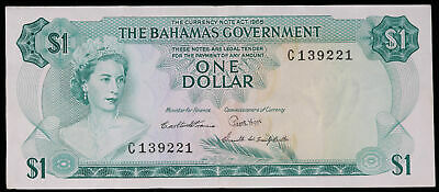 1965 The Bahamas Government $1 Dollar Paper Money Note Circulated #139221