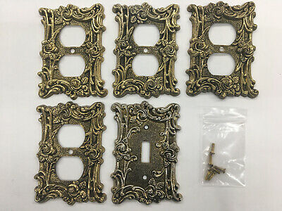 Vintage 1967 Brass Victorian Rose Wall Plate Lot 4 Outlet 1 Switch W/Screws B33h