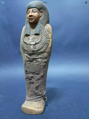 ANCIENT EGYPTIAN ANTIQUES USHABTI SHABTI Wrapped In Linen With SCARAB Stone BC