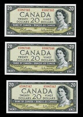 1954 $20 LOT OF 3x CONSECUTIVE BANK OF CANADA BANKNOTES IN AU/UNC GRADES!
