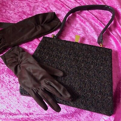 Vintage 1960s Leather And Lace Handbag Chocolate Brown With Matching Gloves