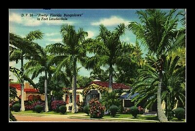 Us Linen Postcard Pretty Florida Bungalows Houses Surrounded By Tropical Plants