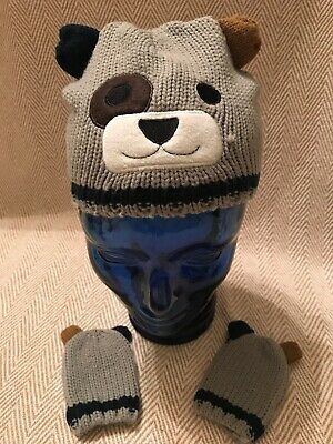 Boys Bear Beanie And Mittten Set From Primark Age 12-24 Months