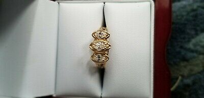 14KT Yellow Gold 3 Stone Marquise Cut Diamond Ring Size 7