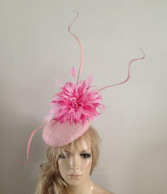Ivory Pink wool hat fascinator hats feather wedding ascot fascinators bride