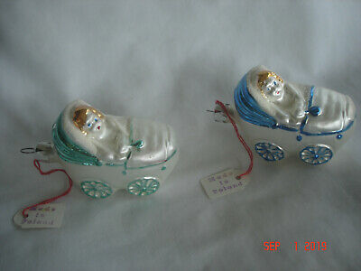 2 Vtg. BABY BUGGY w/ BABY BLOWN GLASS Figural ORNAMENTS Poland 1 BLUE 1 GREEN