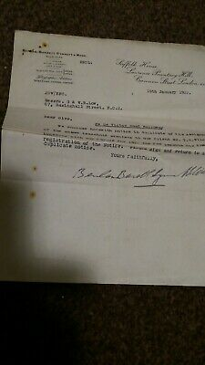 Vintage ephemera 1922 .  a letter from solicitors in Cannon Street London