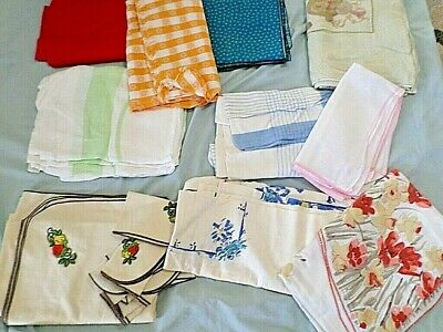 Vintage Table Clothes Lot of 10 cutters re-purpose restore repair crafts Estate4