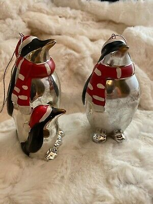 """Set of 2 Santa Penguin Family Christmas Ornaments with Red & White Scarfs 4.5"""" T"""