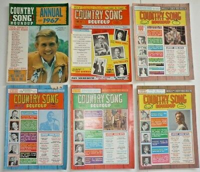 6 Issues 1967 Country Song Roundup Magazine 5 Magazines & Annual, Country Music