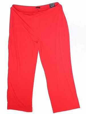 Alfani Womens Pants Red Size 0X Plus Wide Leg Mid Rise Solid Stretch $69 154