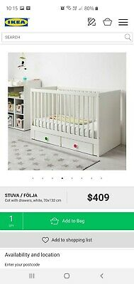 Near new Stuva Ikea Baby bed cot white timber excellent condition