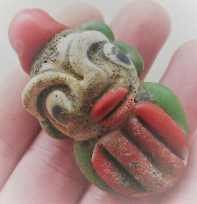 Ancient Phoenician Mosaic Glass Face Pendant Bearded Male