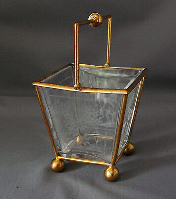 Victorian Glass  Brass English Christopher Dresser Sugar Basket Arts & Crafts