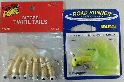 Lot of 2 Arkie 1//8 oz Rigged Pearl//White Soft Twirl Tail Fishing Jigs 7-Pack