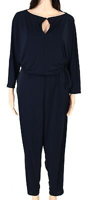 Lauren by Ralph Lauren Womens Jumpsuit Navy Blue Size 1X Plus Keyhole $165 079