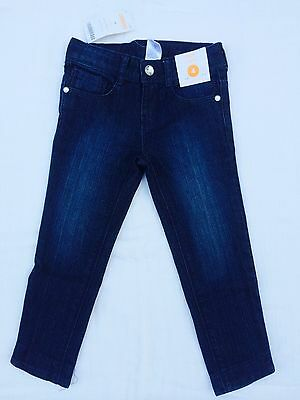 Gymboree Girl Cropped Dark Blue Capri Jeans with Flower Embroidery Size 4 NWT
