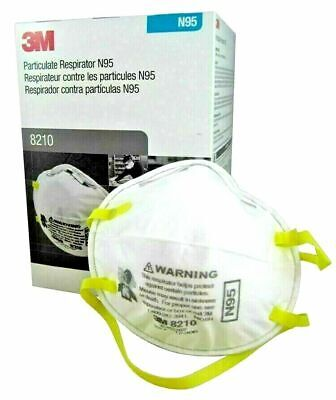 3M N95 8210 Particulate Respirator Face Masks 1 Box of 20 Masks Dust Mask New