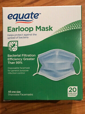 20 Medical Earloop FACE MASK Disposable Equate Infection Flu Control Anti Viral