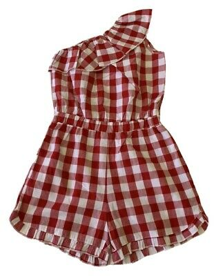 Girls size 12 RED & WHITE CHECK Cotton playsuit  jumpsuit jump play suit  NEW