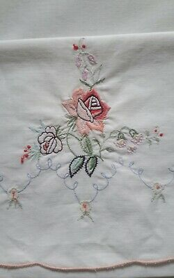 VINTAGE ROSE EMBROIDERED PILLOWCASES set of 2 ivory cotton scallop edge