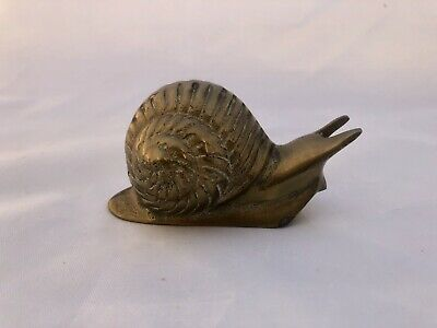 Vintage Small Solid Brass Snail Figure Paperweight Sculpture