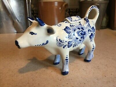 Royal Delfts Delft Blue White VTG Hand painted Cow Milk Creamer with Lid Antique