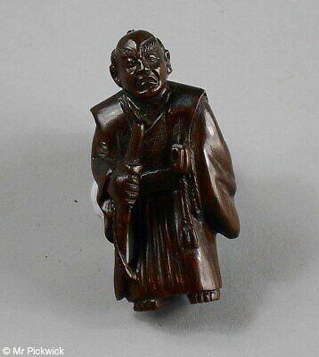 Boxwood Warrior Netsuke Signed Beautifully Hand Carved