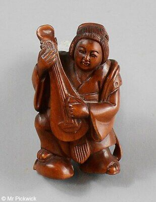 Mujsician Netsuke Signed Boxwood Beautifully Hand Carved