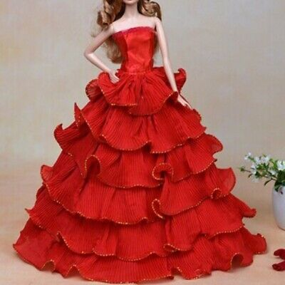 Beautiful Red Wedding Party Dress Clothes Grows w/ Hat for 11inch Doll Toy Gift