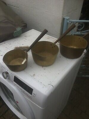 Set Of Old Solid Brass Saucepans Vintage Very Old!!