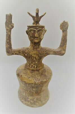 Circa 1500Bce Ancient Greek Minoan Terracotta Standing Worshipper, Bird On Head