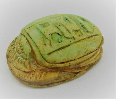 Beautiful Ancient Egyptian Stone Scarab Scaraboid Bead Seal With Heiroglyphs