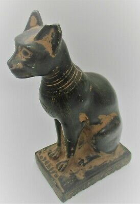 Circa 500Bce Ancient Egyptian Black Glazed Stone Bastet Statuette Superb