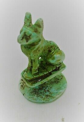 Circa 500Bce Ancient Egyptian Glazed Faience Bastet Seal Stamp With Heiroglyphs
