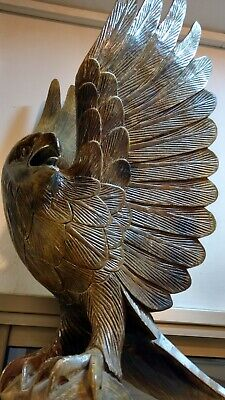 Beautiful Antique Hand Carved Wood Eagle