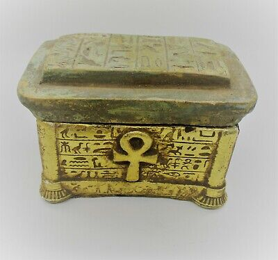 Circa 500Bce Ancient Egyptian Gold Gilded Stone Safe Box With Anhk Key Of Life