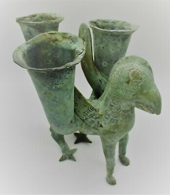 Scarce Ancient Persian Bronze Rhyton In The Form Of A Griffin Tri-Pronged