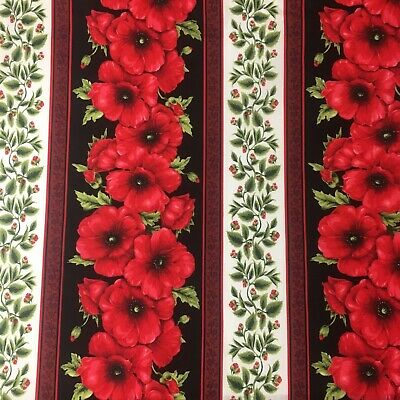 Anzac Poppy Flower Anzac Day Floral Print Cotton Sewing Quilting Fabric 1/2 M