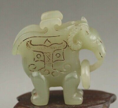 Chinese old natural hetian jade hand-carved statue dragon ring cup 2.1 inch