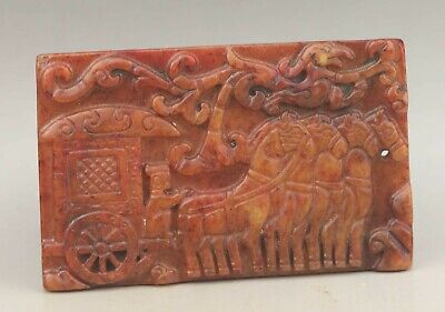 Chinese old natural jade hand-carved statue horse pendant 3.2 inch