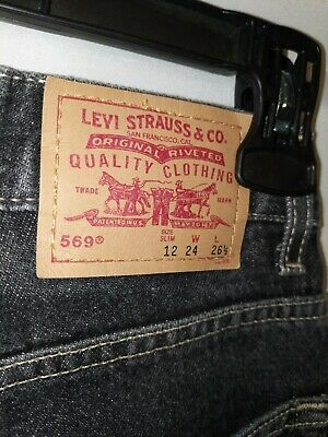MEN/boys  LEVI STRAUSS 569 slim straight WASH JEANS 12 slim. Measures 24x26