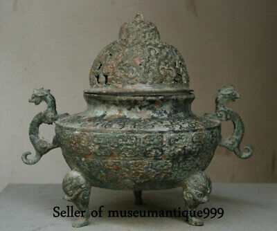 """15.6"""" Old Chinese Bronze Ware Dynasty Palace Dragon Beast Handle incense burner"""