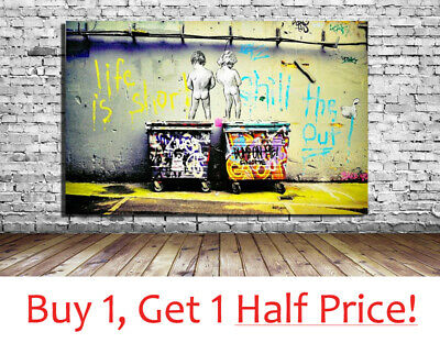 LIFE IS SHORT BANKSY : CANVAS WALL ART PRINT - Various Sizes: Banksy Picture